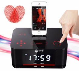 Wholesale Speakers Docking Station Bluetooth - Hot A8 Touch Radio Alarm Clock Bluetooth Speaker with docking System,Portable Dock Station Stereo A8 FM AUX NFC Dual USB speaker