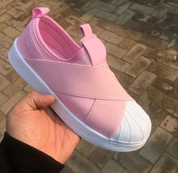 Wholesale White Sneakers Low Price - LOW PRICE Summer SUPERSTAR SLIP ON Sandals Loafers For Men Women head crossed strap 4colors low Tops unisex sneakers 36-44