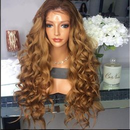 Wholesale French Long Hair - 180 Density Peruvian Virgin Human Hair Ombre Full Lace Wigs #4T27 Blonde Lace Front Wig With Baby Hair Around