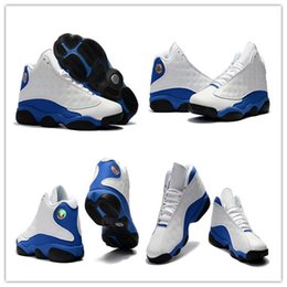 Wholesale Men S Leather Sneakers - Mens Air Retro 13 HYPER ROYAL Basketball Shoes White Hyper Royal 2018 Fashion Mens 13s Athletics Sneakers Sports shoe Retro 13's Trainers