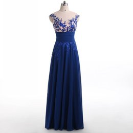 Wholesale Crystal Beaded Corset - Royal Blue Corset Chiffon Evening Dresses 2017 Elegant Party Long Sexy Red Carpet Cheap Stock Backless Formal Prom Gowns For Women Wear