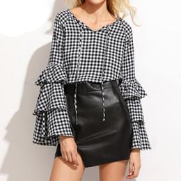 Wholesale Chiffon Plaid - Womens Blouses 2018 Womens V-Neck Lace-up Tie Check Plaid Long Sleeve Flouncing Casual Spring Blouse Tops Shirt Blusas Plus Size