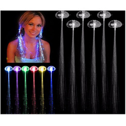 Wholesale Hair Extensions Led Light - .Luminous Light Up LED Hair Extension Flash Braid Party girl Hair Glow by fiber optic For Party Christmas Halloween Night Lights Decoration
