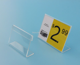 Wholesale Acrylic Price Stand - 5*3.5CM Clear Acrylic Name table card Price Tag Advertisement Display Stand Holder POP label tag frame holder label frame