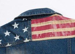 Wholesale Sexy Jean Jackets - Men Denim Vest Jean Jacket Waistcoat Sleeveless Vintage Punk Casual Jacket flag