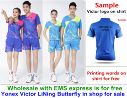 Wholesale table tennis shorts green - Wholesale EMS for free, Text printing for free, new badminton shirt clothes table tennis T sport shirt clothes 3056