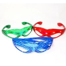 Wholesale Light Up Party Shades - Halloween Gift LED Spiderman Glasses LED Flashing Glasses Dance Party Spark Cosplay Slotted Shutter sl slo up Shades Spider-man Mask lights