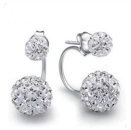 Wholesale 925 Silver 12 Mm - 925 sterling silver items Shambhala jewelry stud earrings 8 10 12 mm double balls wedding charms