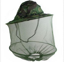 Wholesale Red Mosquito Insect - Camouflage Mosquito Cap Women Men Midge Fly Insect Bucket Hat Fishing Camping Field Jungle Mask Face Protect Cap Mesh Cover