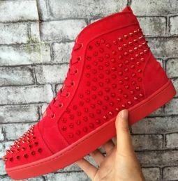 проволочная сетка Скидка drop shipping высокое качество Luxury Brand мужчины высокая черная проволочная сетка с шипами Повседневная обувь мужчины Красное дно кроссовки, мужская плоская обувь