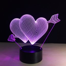 Wholesale drop charge - 2017 Cupid's Arrow Love Arrow 3D Optical Illusion Lamp Night Light DC 5V USB Charging AA Battery Dropshipping Free Shipping