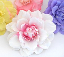 Wholesale Silk Flower Corsage Brooches - head 30 PIECES lot Artificial Dahlia Silk Heads for Wedding Headband Corsage Brooch B72 silk flower heads