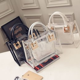 Wholesale Transparent Clear Tote - Fashion Women's Summer Jelly Candy Clear Transparent Handbag Pillow Shape Tote Purse Shoulder Beach Bag 9 Colors