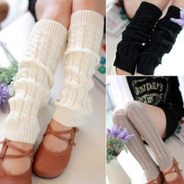 Wholesale Warm Leggings For Girls - Wholesale- 1 Pair Winter Leg Warmers for Girls Gaiters Knit Warm Crochet Leggings Boot Cuffs Knee High Trim Boot Legging Warmer