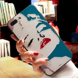 Wholesale Colorful Marilyn Monroe - Marilyn Monroe Case for iphone 8 plus Sexy Girl 3D Colorful Printing Relief TPU+PC Back Cover for iphone 7 7plus 6 6S plus