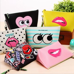 Wholesale Handbag Lips - Women Makeup Bags Cartoon Cute Lip Handbag Clutch Bags Waterproof Storage Bag Change Coin Purse Cosmetic Case 8 Styles OOA2549