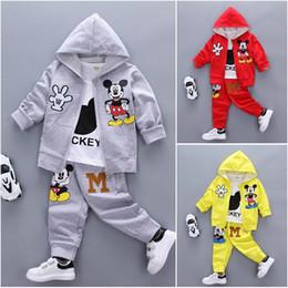 Wholesale Boys Long Coat 12 - 3pcs kids baby boy Girl Mickey coat+T shirt+pants Outfits&set boy autumn clothes