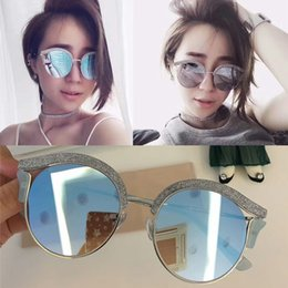 Wholesale Pink Flicker - New High Quality with flicker leather Cat Eye fashion sunglasses women sun glasses luxury brand eyewear with original box lentes de sol