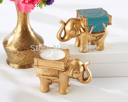"Wholesale Tea Candle Favors - Wedding favors and wedding decoration-- Golden ""Lucky Elephant"" Tea Light Candle Holder party gifts 100pcs lot"