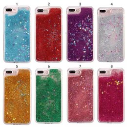 Wholesale 3d Christmas Iphone Case - 3D Quicksand Floating Dynamic Case for iphone 6 6s 7 8plus Soft TPU Bling Glitter Stars Cover 5S SE S7 EDGE christmas case