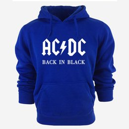Wholesale Band Sweatshirts - Wholesale-AC DC Band Rock Hoodies Men's Sweatshirt Long Sleeve cotton thick hoody For Men Tracksuit Male Pullover New Arrivals