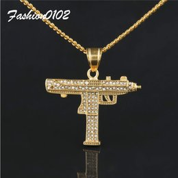 Wholesale 14k Cuban - Men Hip hop Jewelry Uzi Gun Pendant Lced Out Full Rhinestone Alloy 14k Gold Plated Submachine Gun Pendant Necklace Cuban Chain