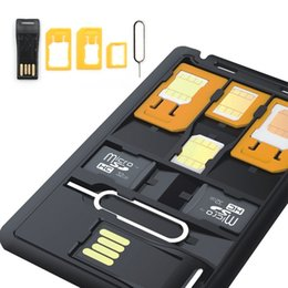 Wholesale Sd Card For Apple - SIM Card holder &SD card Case Storage + Memory card reader, Holds 4 SIM Cards 1 Micro 1 Nano, 2 MicroSD memory cards and pin