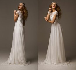 Wholesale Cheap Lace Gowns China - Elegant Boho Wedding Dresses 2017 Cap Sleeves Vintage Lace Chiffon Summer Beach Wedding Dress Cheap Bridal Gowns Made in China Casamento