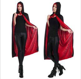 Rotes schwarzes kapuzenoberteil online-schwarzer Todesumhang Halloween Kostüme Weihnachten Cosplay Theater Prop rot Vampir Kapuzenmantel Devil Mantle Adult Kapuzen Cape
