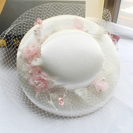 Wholesale Trendy Church Hats For Women - Women hat church hat formal hats wedding hats headpieces for wedding pink flower top hat headpieces bridal headdress party accessories