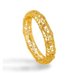 Wholesale 24k Gold Wedding Bangles - 2017 New Arrival Retro style Top quality 24K Gold-plated Clover Hollow Bangle for women Bride wedding gift
