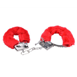 Wholesale Handcuff Toys - Wholesale- Sexy Stylish Furry Fuzzy Handcuffs Soft Sexo Fetish Metal Adult Hen Night Party Game Gift Erotic Gag Toys Sex Toys for Couples