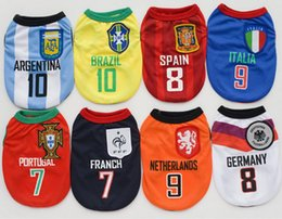 Wholesale Apparel World - Pet Supplies Clothes Puppy Dog Vests T Shirt Apparel pet football suit Brazil Spain football for world cup