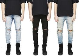 Wholesale Designer Mens - Designer Slim Fit Ripped Jeans Men Hi-Street Mens Distressed Denim Joggers Knee Holes Washed Destroyed Jeans Plus Size free shipping