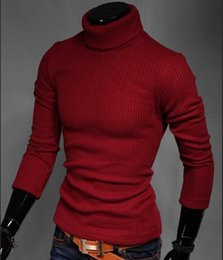 Wholesale High Collar Sweaters - Wholesale-new autumn and winter warm men's high collar pullovers sweater Men bottoming shirt Slim