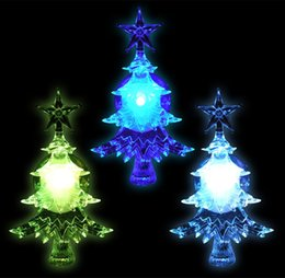Wholesale Christmas Lights Window Decorations - Colour Changing LED Acrylic Christmas Tree Window Sucker decoration battery operated