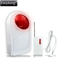 Wholesale Sirens Home - Wholesale- New Earykong 433MHz Wireless Strobe Siren For Home burglar alarm system, With Battery, Include the wireless transmission module
