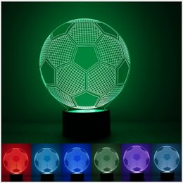 Wholesale Robot Table Lamp - Wholesale- Fashion Football Lamp 3D Visual Led Night Lights for Kids Robot Touch USB Table Desk Bedside Novelty Lighting Home Decoration