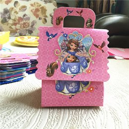 Wholesale Princess Favor Bags Boxes - 240pcs Trolls Princess Avengers Masa Sofia Moana Cartoons Party Candy Box Birthday Party Favor Supplies + 100pcs Tattoo Sticker