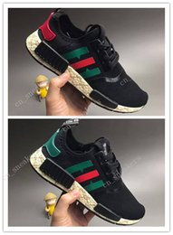 Wholesale Cheap Solid Real - With box 2017 Cheap New GG Boost X NMD R1 joint real mens running shoes sneakers Women nmd boost gg x Casual shoes summer breathable 36-44