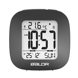 Wholesale Mini Clock Temperature - Baldr Mini Digital Alarm Clock Time Temperature Display Calendar Function Travel Clocks Snooze and White Backlight Table Clock