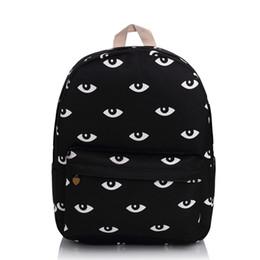 Wholesale Fashion Styles For Teens - Wholesale- Harajuku Good Quality Black Eyes Backpack Fashion Campus School Bag For Teens Waterproof Travel Daypacks