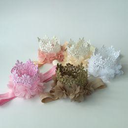 Wholesale Mini Crown Headband - Vintage Mini Crown Headband Matching Chiffon Flowers Mini Crown Headband Lace Crown Hair Band 10pcs lot