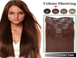 "Wholesale European Clip Remy Hair - 70g 16"" - 22"" Full Head Remy Clip in Human Hair Extension Black Brown Blonde optional 7PCS set 70g set 28 colors available"