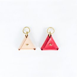 Wholesale Korean Style Key Ring - handmade coin purse Triangle vegetable tanned leather keychainn key ring brass mini holder