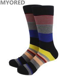 Wholesale Wholesale Luxury Socks - muti-color half stripe fashion long colorful socks male female happy men long socks knee luxury colorful Business brand sock 100pc DHL