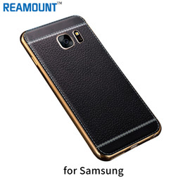 Wholesale Yellow Leather Paint - Luxury Litchi Grain Painting TPU Soft Leather TPU Back Case Cover for Samsung Note 3 4 5 Ultra Slim Phone Case Cover