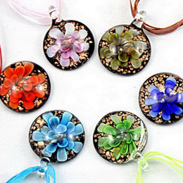 Wholesale Brass Dust - 2017 new Round lampwork glass pendant necklace Fashion Art 3D Flower Gold dust glass jewelry free shipping