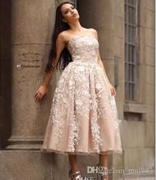 Wholesale Elie Saab Graduation Dresses - Elie saab Vestido 2017 Strapless lace evening Dresses Tea-Length Champagne party prom Evening Gowns Size 4 6 8 10 12 14
