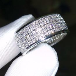 gioielli diamonique Sconti Fine Jewelry 250Pcs gioielli Diamonique diamante simulato bianco pieno topazio 10KT oro bianco Filled donne Wedding Band Ring regalo